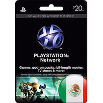 Tarjeta Gift Card Playstation Network $20 Usd Mexicana Ps4