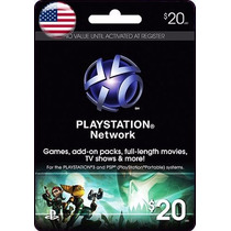 Tarjeta Gift Card Playstation Network $20 Usd Para Ps3 Y Ps4