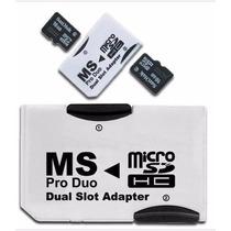 Adaptador Ms Pro Duo Doble Memoria Micro Sd Hc Psp