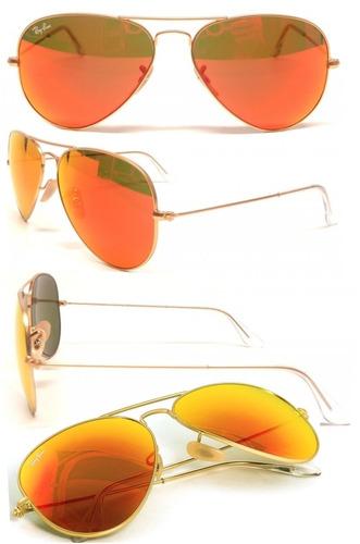 Ray Ban Aviator Espejo Naranja
