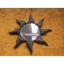 Precioso Gigante Espejo De Metal De Sol Estilo Antiguo.