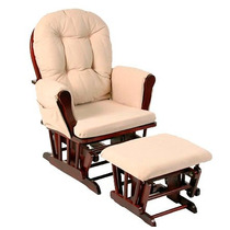 Silla Mecedora Con Descansapies Storkcraft, Cherry / Beige