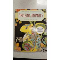 Libro De Colorear Para Adultos Amazing Animals 2 En 1