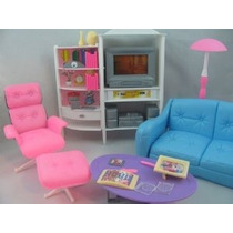 Barbie Tamaño Dollhouse Muebles - Habitación Familiar Tv Sof