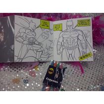 12 Invitaciones Batman Cuento Para Coloreal Y Crayolas