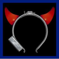 10 Diademas De Cuerno Diablo Halloween Lumninosa Led Muertos
