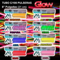 100 Pulseras Premiunglow Cyalume Neon 12 Hrs X Color O Asst
