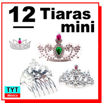 12 Tiara Princesas Mini Peineta Fiesta Boda Eventos Party