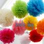 10 Pompones 20 Cm Varios Colores Decoracion Pantalla China