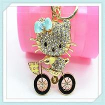 Llavero Con Swarovski Hello Kitty En Bici Amarilla