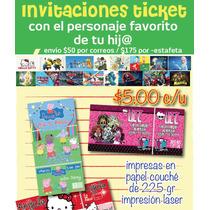 Paquete De Invitaciones Infantiles Ticket