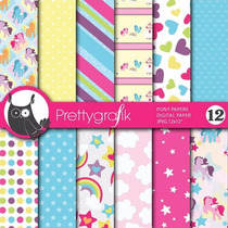 Kit Imprimible Pack Fondos Pony Clipart