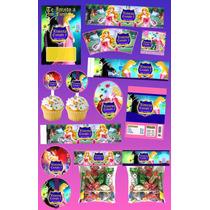 Kit Imprimible Bella Durmiente Y Malefica 30 Etiquetas