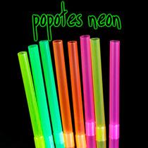 50 Popotes Neon Plastico Fiesta Luz Negra Black Uv Luminosos