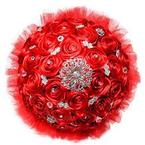 Ramo De Novia Rojo, Alta Calidad, Hermoso Bouquet De Rosas