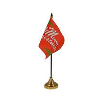Decoración De Navidad - Feliz Red Premium Satinado Bandera