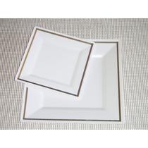 Plato Blanco Plástico Desechables Vajilla Cumpleaños Navidad