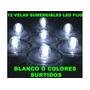 12 Led Sumergible Led Fijo Blanco Colores Surtidos Eventos