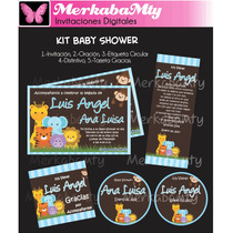 Invitaciones Baby Shower Jungla Selva Kit Imprimelo Tú!!