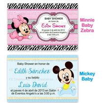 Invitaciones Baby Shower Bautizo Minnie Mickey Hello Kitty