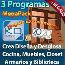 Kit Programa Profesional Diseña Cocina Muebles Closet Baños