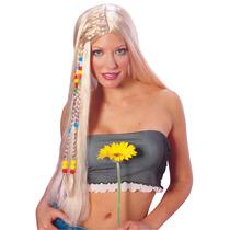 Vestido De Lujo De La Peluca - Rubio Largo Con Cuentas Hippi