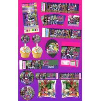 Kit Imprimible Monster High Personalizado 30 Etiquetas