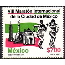 Timbre Postal Viii Maraton Internacional De La Cdmexico 1990