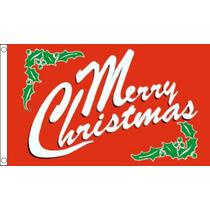 Decoración De Navidad - Feliz Red 3ftx 2ft De La Bandera De