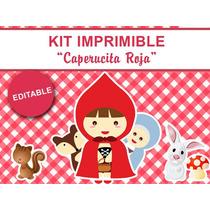 Kit Imprimible Editable Caperucita Roja, Candy Bar, Stickers