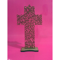 Cruz De Mdf Con Oración Ave Maria Madera Country 25 Cms.