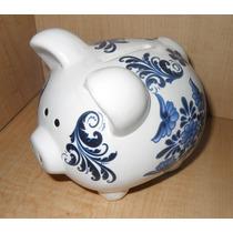 Alcancia De Ceramica Puerquito !!! Talavera Blanco Con Azul
