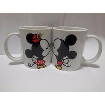 Tazas Mickey Y Minnie Beso Por Ambas Tazas Personalizada