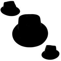 10 Sombreros Gangster Negro Mate