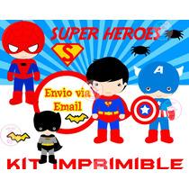 Kit Imprimible Superheroes Batman Superman Ironman Único!!