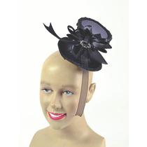 Burlesque Disfraz - Señoras Negro Mini Sombrero Superior Fa