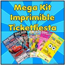 Kit Imprimible Invitaciones Tipo Boleto Para Todo Evento