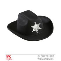 Vaquero Traje - Look Real Black Hat W Sheriff Star Kids