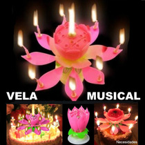 Vela Musical Forma De Flor,fiesta, Xv Años,pastel.