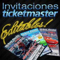 Invitaciones Imprimibles Tipo Ticketmaster Cumpleaños