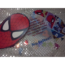 12 Invitacion Con Cadenita Hombre Araña, Spiderman