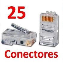 Conector Plug De Red Rj45 Para Cable Utp Cat 5 25 Piezas