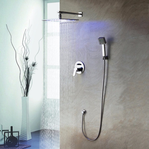 Regadera ba o lluvia led 25cm mezcladora y ducha de mano for Mezcladora de ducha