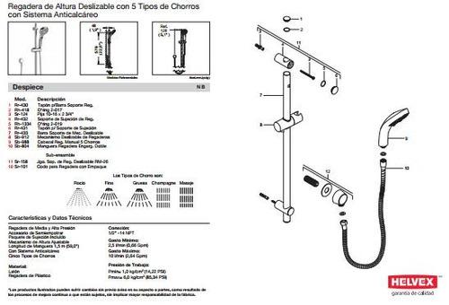 Muebles Para Baño Helvex:Regadera De Baño Helvex Mod Rm – 29 De Mano Sp0 – $ 2,38200 en