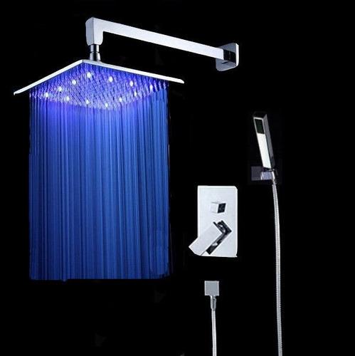 Regadera lluvia de 40cm x 40cm luz led mezcladora ducha for Precio de mezcladora para ducha