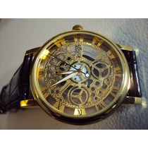 Hermoso Reloj Kings Tipo Skeleton Maquina De Cuarzo Extpiel