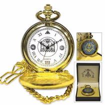 Reloj Masonico De Bolsillo Dorado, Mason, Masoneria, Logia