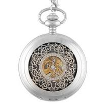 Reloj Relojes De Bolsillo De Cuerda Elegante Baño De Plata