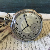 Hermoso Reloj De Bolsillo Elgin Chapa Oro Blanco 14k Antiguo