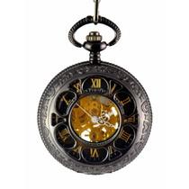 Reloj Bolsillo De Cuerda Estilo Romano Mecanico Hora Tiempo